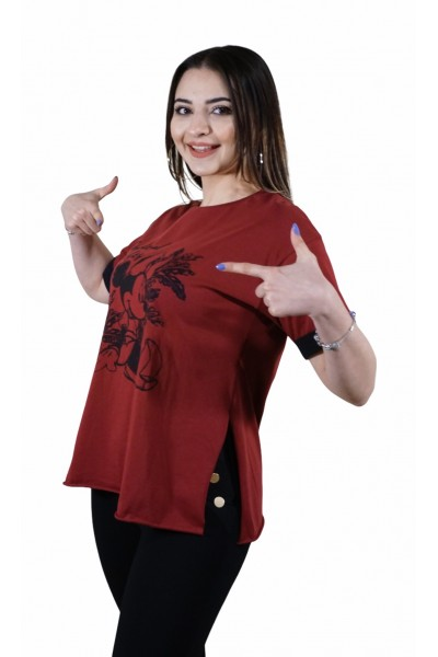 Mickey Mouse Baskılı  Bordo T-shirt